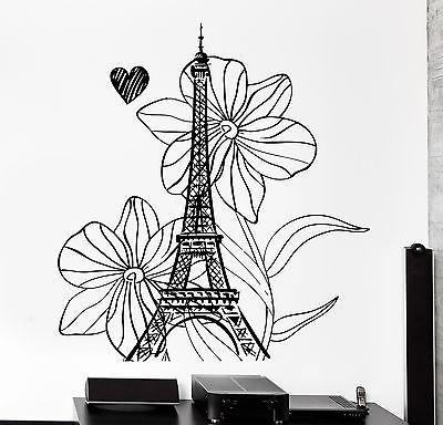 Wall Decal Paris France Vacation Flower Heart Romantic Vinyl Decal Unique Gift (z3113)