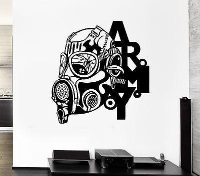 Wall Decal Army Gas Mask Soldier War Death Attack Mural Vinyl Stickers (ed135)