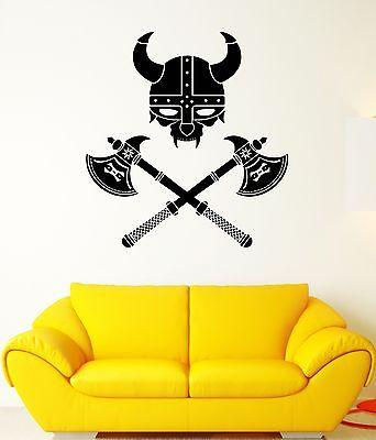 Wall Decal Viking Helmet Warrior Axe Weapons Shield Vinyl Stickers Unique Gift (ed010)