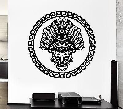 Wall Decal Face Leader Tribe Plumage Totem Mask Pattern Vinyl Stickers Unique Gift (ed123)