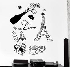 Wall Decal Paris Eiffel Coffee Champaign Candy Shoes Love Vinyl Decal Unique Gift (z3117)