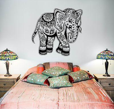 Wall Vinyl Elephant Floral Tribal Ornament Mural Vinyl Decal Unique Gift (z3364)