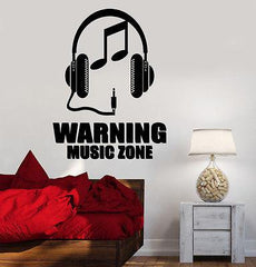 Wall Vinyl Music Zone Headphones Notes Guaranteed Quality Decal (z3504)
