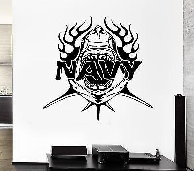 Wall Decal Navy Shark Army Predator Fangs War Soldiers Vinyl Stickers Unique Gift (ed137)