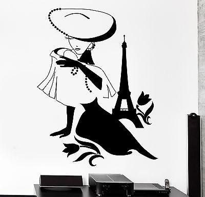 Wall Decal Paris France Eiffel Tower Sexy Girl Flower Vinyl Decal Unique Gift (z3124)