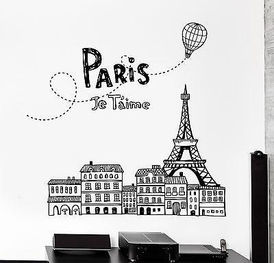 Wall Decal Paris France Air Balloon Eiffel Tower Vinyl Decal Unique Gift (z3142)