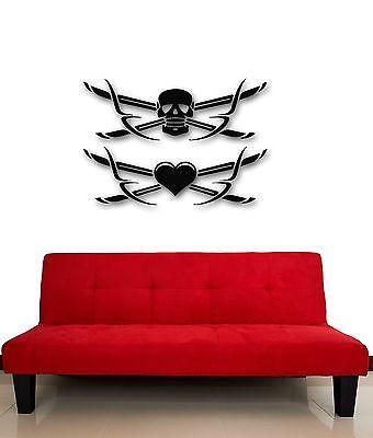 Wall Stickers Vinyl Decal Death Skull Cold Weapon Sword Heart Unique Gift (ig488)