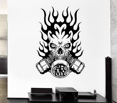 Wall Decal Army Fire Gas Mask Skull Death Soldier Mural Vinyl Stickers Unique Gift (ed134)