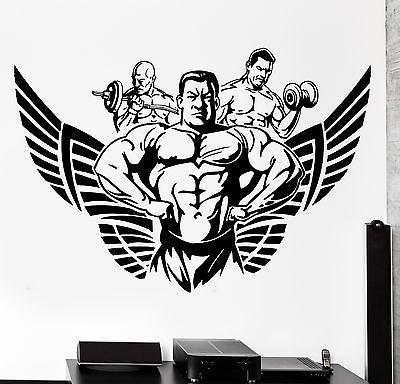 Wall Sticker Sport Bodybuilding Bodybuilder Muscle Winged Vinyl Decal Unique Gift (z3078)