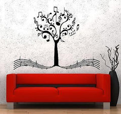 Wall Vinyl Music Notes Tree For Bedroom Guaranteed Quality Decal (z3529)