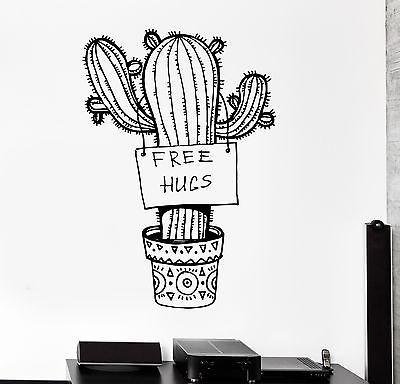 Wall Vinyl Cactus Floral Flower Funny Free Hugs Cool Decal Unique Gift (z3415)