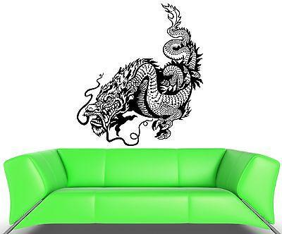 Wall Decal Dragon Fire Scale Snake China Monster Tail Vinyl Stickers Unique Gift (ed068)