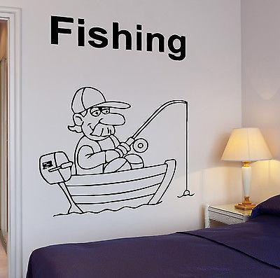 Wall Decal Fishing Fish Funny Relax Relaxation Cool Decor For Living Room Unique Gift z2760