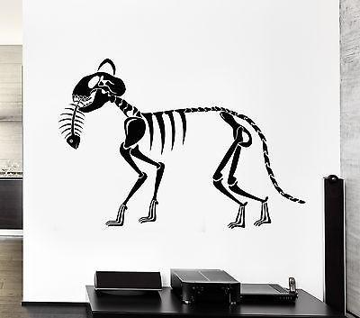 Wall Decal Skeleton Cat Fish Art Animal Skull Death Mural Vinyl Stickers Unique Gift (ed125)