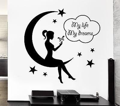 Wall Decal Teen Girl Fairy Moon Star Dreams Bedroom Decor Vinyl Stickers Unique Gift (ig2571)