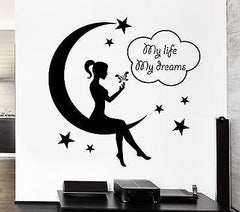 Wall Decal Teen Girl Fairy Moon Star Dreams Bedroom Decor Vinyl Stickers (ig2571)