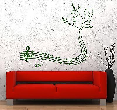 Wall Vinyl Music Notes Tree Cool Guaranteed Quality Decal Unique Gift (z3544)