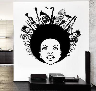 Wall Vinyl Music Black African American Girl Guaranteed Quality Decal Unique Gift (z3514)