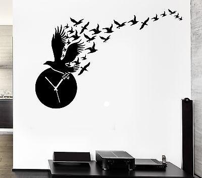 Wall Decal Clock Time Birds Great Room Decor Vinyl Stickers Art Mural Unique Gift (ig2551)