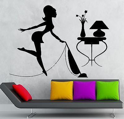 Wall Stickers Housewife Cleaning Cleaner Woman Maid Vacuums Vinyl Decal Unique Gift (ig2389)