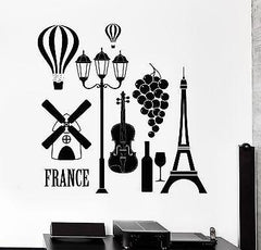 Wall Decal Paris France Love Romantic Eiffel Tower Vinyl Decal (z3143)