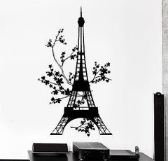 Wall Decal Paris France Eiffel Tower Flower Floral Vinyl Decal (z3138)
