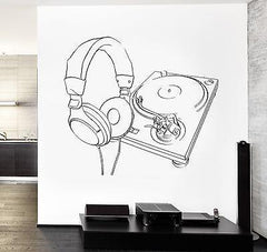 Wall Vinyl Music Headphones Turntable DJ Guaranteed Quality Decal (z3561)