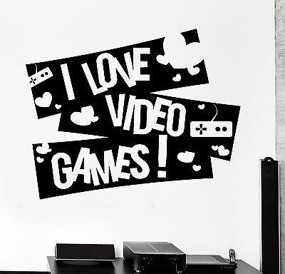 Wall Sticker Gaming I Love Video Games Gamer Vinyl Decal Unique Gift (z3092)