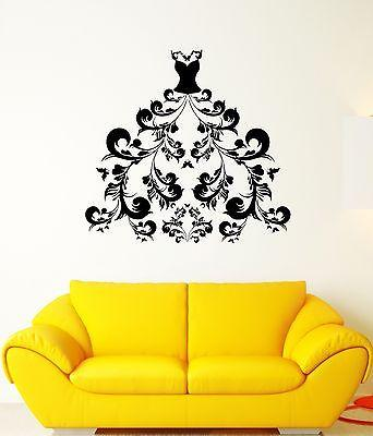Wall Decal Patterns Dress Art Flowers Bust Beautiful Vinyl Stickers Unique Gift (ed162)