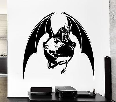 Wall Decal Dragon Planet Earth Capture Wings Monster Vinyl Stickers Unique Gift (ed138)