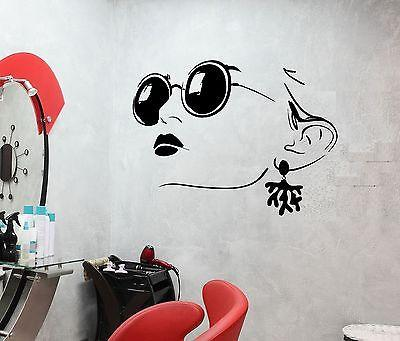 Wall Decal Girl Face Glasses Shackle Beauty Salon Lips Vinyl Stickers Unique Gift (ed050)