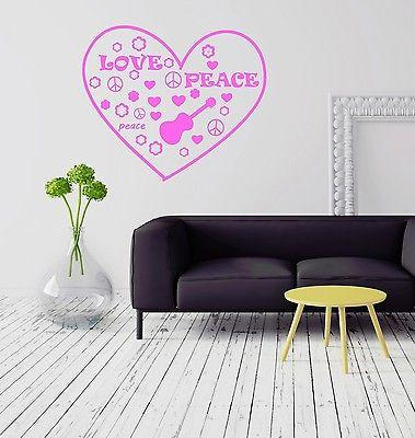 Hippie Peace Love Music for Girls Wall Sticker Vinyl Decal Unique Gift (ig2077)