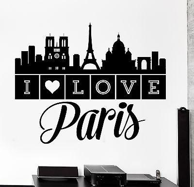 Wall Decal Paris France Quote I Love Paris Eiffel Tower Vinyl Decal (z3139)