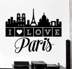 Wall Decal Paris France Quote I Love Paris Eiffel Tower Vinyl Decal Unique Gift (z3139)