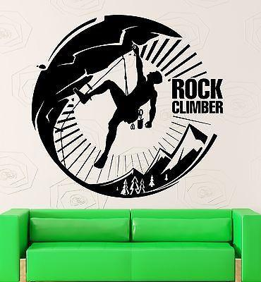 Wall Sticker Vinyl Decal Rock Climber Mountain Extreme Sports Tourism (ig2135)
