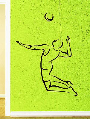 Wall Decal Volleyball Player Game Ball Sport Athlete Jump Vinyl Stickers (ed251)
