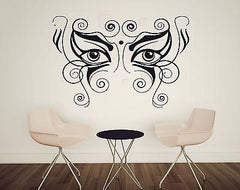 Vinyl Wall Sticker Oriental Motif Ornament Eye Mask Decor For Living Room Unique Gift (n020)