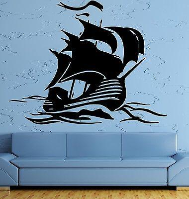 Wall Sticker Ship Yacht Sea Ocean Marine Water Sport Art Bedroom (z2585)