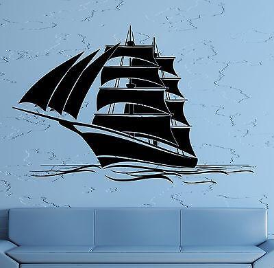 Wall Decal Sail Boat Ship Yacht Marine Sea Waves Vinyl Sticker Unique Gift (z2831)