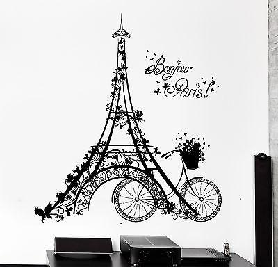 Wall Decal Paris Eiffel Tower France Bicycle Love Vinyl Decal Unique Gift (z3112)