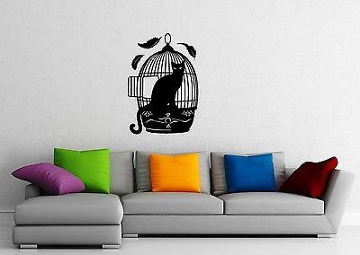 Wall Sticker Vinyl Decal Cat Hunting Animal Cage Unique Gift (ig1167)