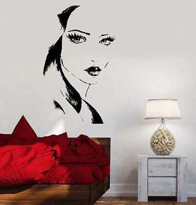 Wall Decal Fashion Girl With Beautiful Face Vinyl Sticker Unique Gift (z3616)