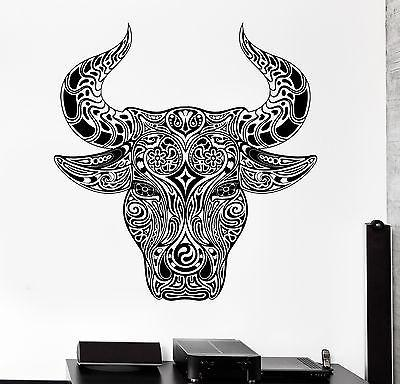 Wall Decal Animal Ornament Bull Aggressive Vinyl Decal Unique Gift (z3149)