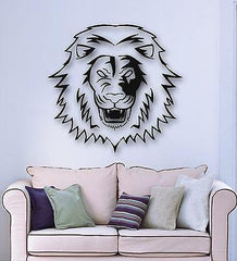 Wall Stickers Vinyl Decal Angry Lion Predator Animal Tribal Unique Gift (ig582)