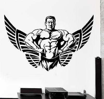 Wall Sticker Sport Crossfit Bodybuilder Muscle Man Winged Star Decal Unique Gift (z3080)