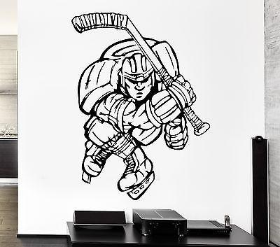 Wall Decal Sport Game Hockey Stick Ice Skates Player Vinyl Stickers Unique Gift (ed299)