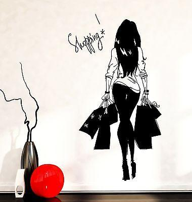 Wall Decal Girl Young Woman Shopping Bags Vinyl Sticker Unique Gift (z3602)