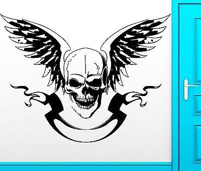 Wall Sticker Vinyl Decal Skull Wings Freedom Anarchy Cool Decor Unique Gift (z2475)