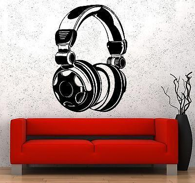 Wall Vinyl Music Headphones Head Phones Song Guaranteed Quality Decal Unique Gift (z3576)