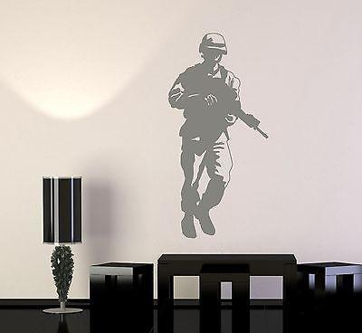 Wall Vinyl Soldier Rifle M16 Military War Army Cool Decal Unique Gift (z3421)